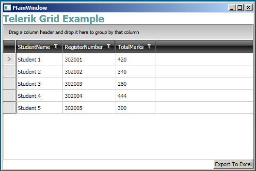 Binding and Export with Telerik Rad Grid