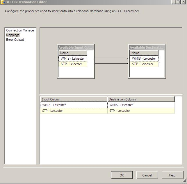 SSIS Column Mapping