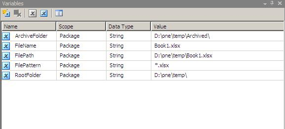 Creating Variables SSIS